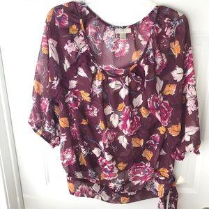 Loft Maroon Floral Print Tie knot Top Sz L